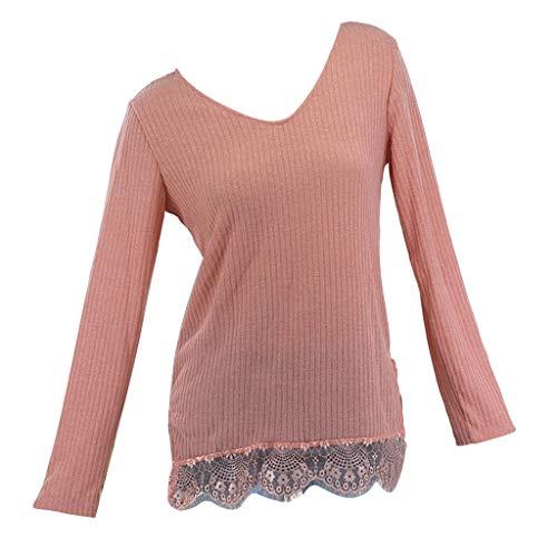 DressLksnf Frauen Casual V-Ausschnitt Langarm Spitzenbluse Pullover Sweater Shirts Tops Damen V-Ausschnitt Waffel Strick Tunika Spitzenbluse Jumper Sweatshirt Langarm Pullover Tops