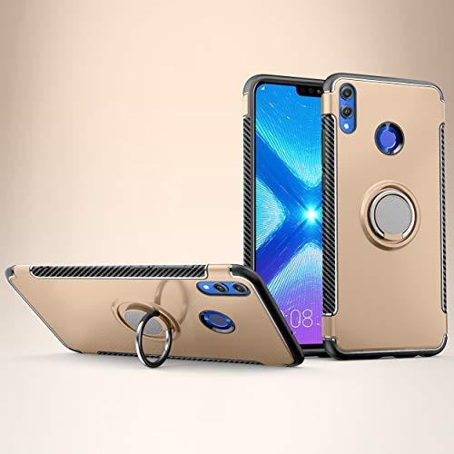 Labanema Honor 8X Funda, 360 Rotating Ring Grip Stand Holder Capa TPU + PC Shockproof Anti-rasguños teléfono Caso protección Cáscara Cover para Huawei Honor 8X /Honor View 10 Lite - Oro