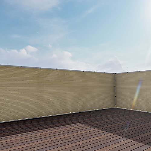 E&K Sunrise3' x 50' Privacy Fence Screen Mesh for Balcony Porch Deck Outdoor Protection Fencing Shield Net Patio Pool Backyard RailsBalcony-Beige-200GSM-Customized