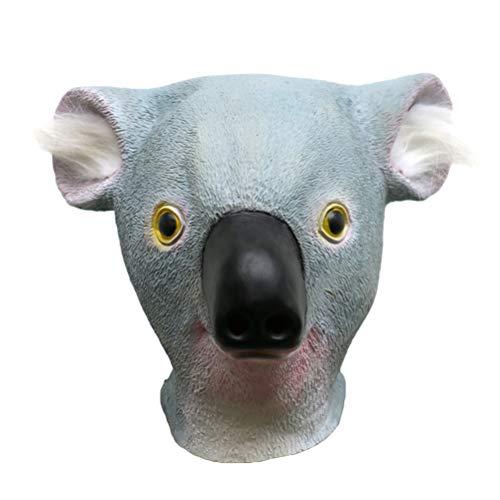 Amosfun 35x35x22cm Latex Halloween Tierkopf Maske Koala Maske Vollgesichtsmaske für Halloween Maskerade Bankett Größe XXS für Halloween Party Supplies