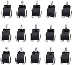 15 stuks 2 inch vloerbeschermende rubberen bureaustoel zwenkwielen standaard zwart/wit, schroeven (kleur: kaartveer)