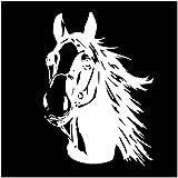 Finest Folia Aufkleber Pferd Pferdekopf Sticker für Auto Anhänger LKW Pferde Autoaufkleber Dekor Pferdemotiv Tiermotiv K039 (Weiß Glanz, 30x21 cm)