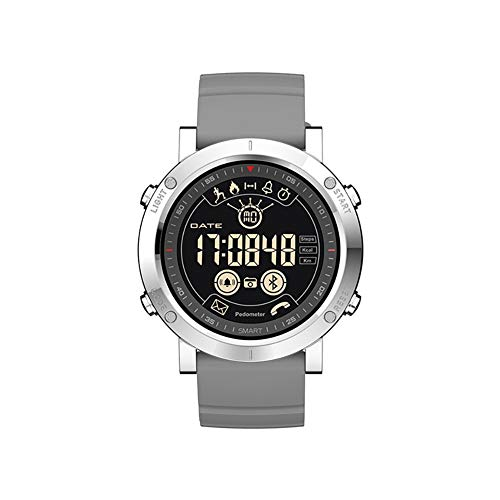 MJAD Multifunctionele Bluetooth sport horloge met monitoring Afstandsbediening camera IP67 waterdicht Silicone polsband Geschikt voor sport zakenreizen Compatibel met iOS Android, size, Grijs
