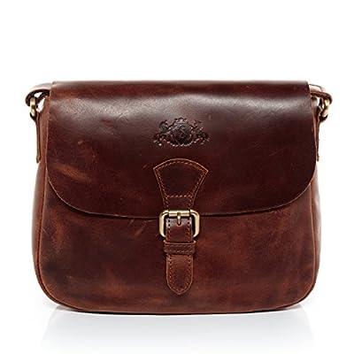 SID & VAIN Real Leather Shoulder Bag & Cross-Body Bag Yale Handbag Leather Bag Women´s Bag Brown