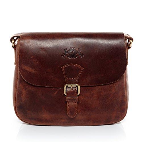 SID & VAIN Schultertasche echt Leder Yale Handtasche Schultergurt Umhängetasche Ledertasche Damen braun