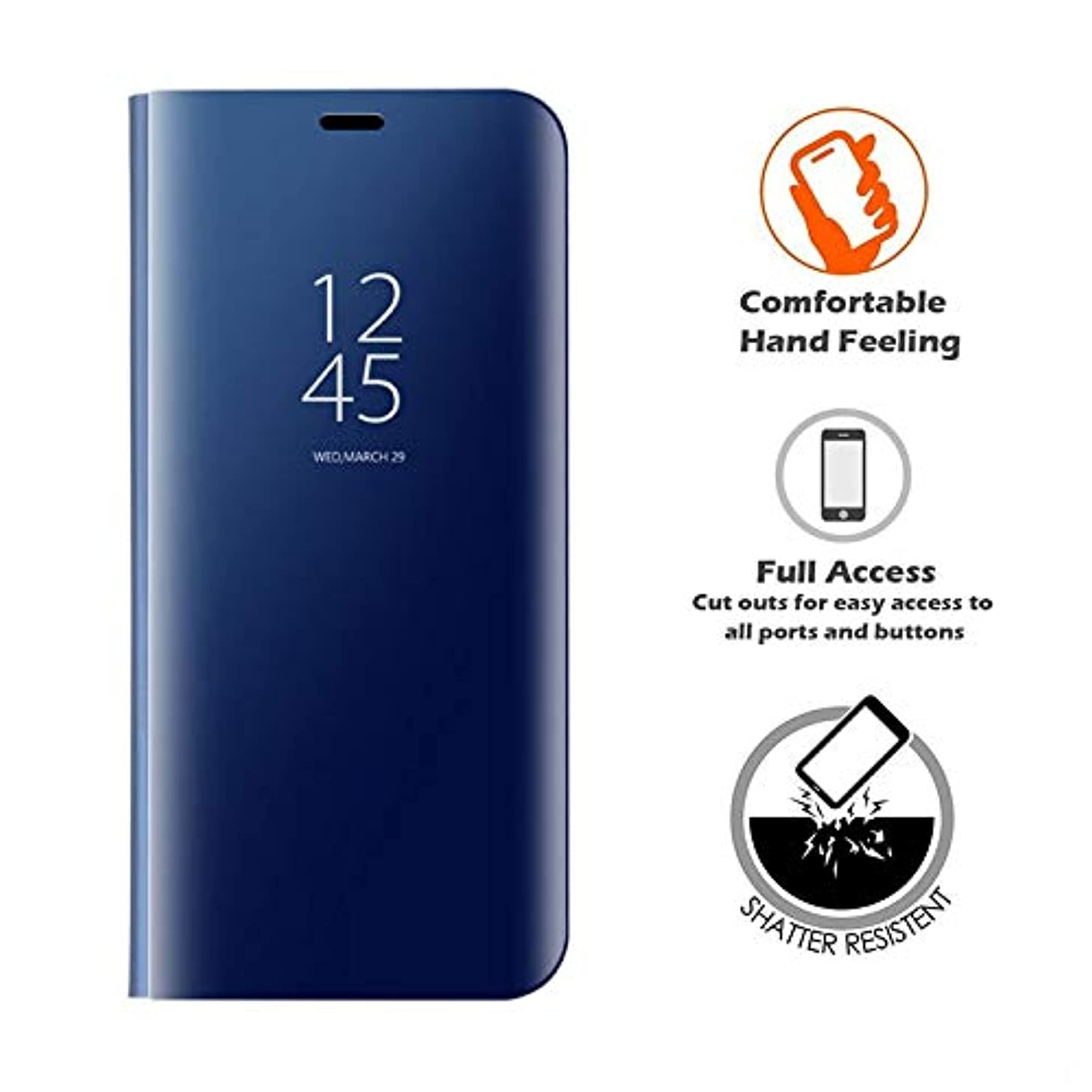 LIKESEA Xiaomi Mi 8 Lite Case, Slim Fit Electroplate Plating Smart Clear View Case Flip Stand PC Hard Cover 360 Degree Full Body Shockproof Protective Skin for Xiaomi Mi 8 Lite - Blue