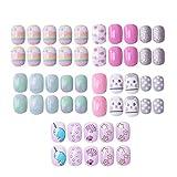 120 pcs 5 pack Children Nails Press on Pre-glue Full Cover Glitter Gradient Color Rainbow Short False Nail Kits Great...