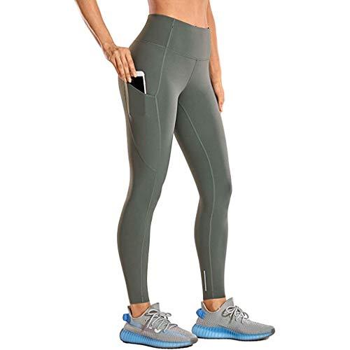 Cinnamou Leggings de Sport pour Femme Pantalon Yoga Fitness Minceur Long avec Poches Basique élastique Running Skinny Taille Haute
