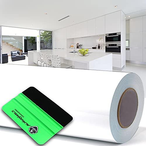 Finest Folia 10 m högglansig vit plotterfilm + 3 M Squeegee självhäftande film möbler film glans kök film badrumsfilm (vit högglans)