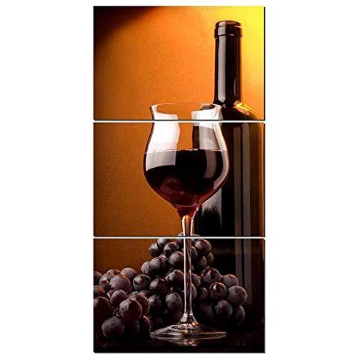 ADKMC Cuadro en Lienzo Enfriador de Vino 3 Piezas en Material Tejido no Tejido -impresión artística Imagen gráfica decoración de Pared