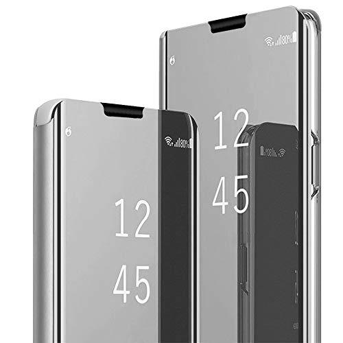 Hülle Kompatibel mit Galaxy S10 Galaxy S10 Plus Handyhülle Spiegeln PU Leder Flip Hülle Ständer Clear View Spiegel Überzug PC Schutzhülle mit Hart Standfunktion (Galaxy S10, Silber)
