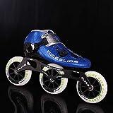 Originale NICESLIDE autobloccante a rulli in fibra di carbonio di velocità pattini in linea competizione professionale Pattini da corsa Pattinaggio Patines ( Color : Blue 3 wheels , Shoe Size : 40 )