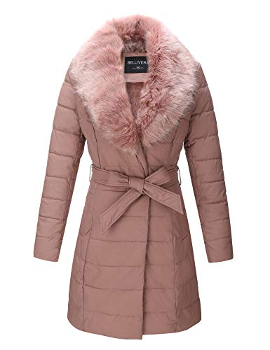 Bellivera Faux Leather Puffer Padding Long Jacket, Women Winter Coats with Detachable Faux Fur Collar