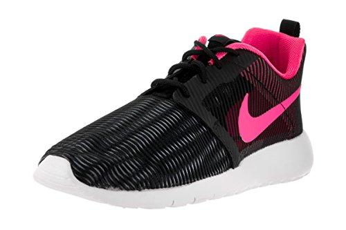 Nike NIKE Kids Roshe One Flight Weight (GS) Black/Pink Blast White Running Shoe 6 Kids US