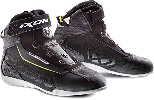 Ixon Assault Evo - Botas para moto (talla 44), color negro, blanco y amarillo