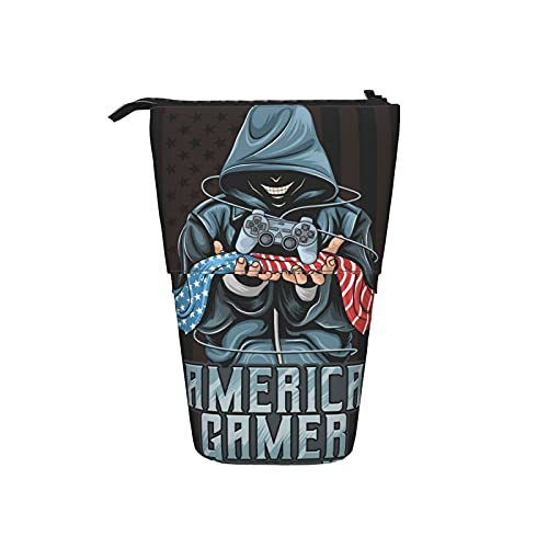 Gamer and America Flag Telescopic Pencil Case Cute Retractable Pen Holder Kawaii Stationery Bag Cosmetic Bag Suitable for School Students Office Women Teens Girls Boys