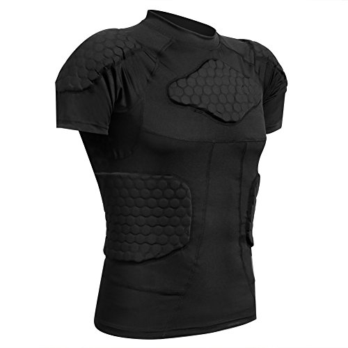 Zicac Men's Sports Shock Rash Guard Compression Padded Shirt Soccer Basketball Protective Gear Chest Rib Guards (Black, US:L(Asia Tag XL))