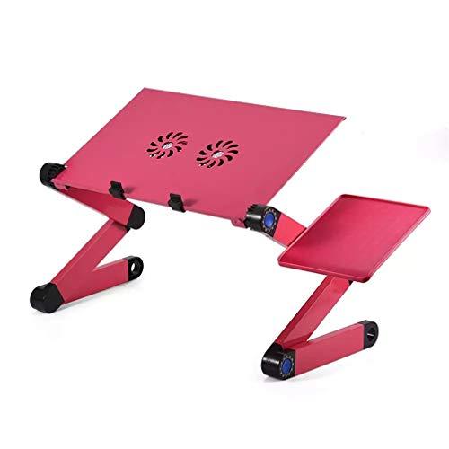 HQLCX Mesa de ordenador portátil, plegable, de aluminio, ajustable, sofá de oficina, portátil, ventilador de refrigeración doble, soporte de PC con alfombrilla de ratón, color rojo