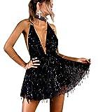 LATH.PIN - Vestido de mujer sexy con lentejuelas, diseño de camuflaje, espalda descubierta, vestido de cóctel Negro XL