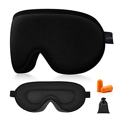 Luxsea Sleep Eye Mask for Sleeping, Soft Comfortable and Breathable Sleep Mask for Men Women, Block Out Light Sleeping Mask Zero Pressure with Adjustable Strap Eye Shade Cover for Travel