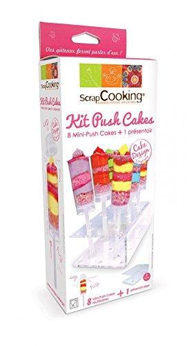 SCRAP COOKING 5162 Kit 8 Mini-Push Cakes et 1 Présentoir, Polyméthacrylate(POLICRIL), Blanc, 30 x 11 x 6 cm