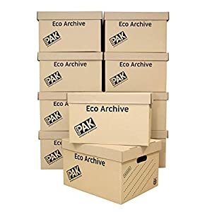 StorePAK Eco Archive /Storage Cardboard Boxes & Lids Pack of 10. Flat Packed & Easy to Assemble. Good for Home Storage, Office & Moving House