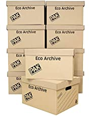 StorePAK Eco Archive - Cajas de cartón y tapas - Fácil de montar, almacenamiento en el hogar, oficina y casa de mudanza, 33 litros, 26 x 34 x 43 cm