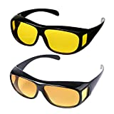 Day and Night HD Vision Wraparounds Sunglasses Combo Pack