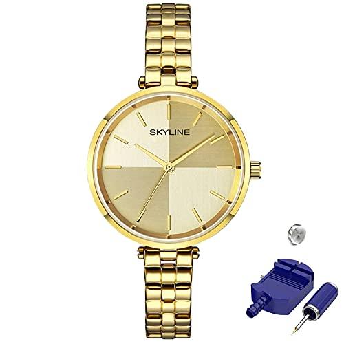 SKYLINE, Reloj de Pulsera para Mujer, Acero Inoxidable, Diseño Minimalista con Fondo Bicolor, Estilo Elegante, Ideal para Uso Diario, Regalo Fechas Especiales, Color Dorado