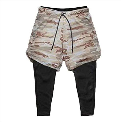 Ducomi Short de fitness pour homme + legging de compression 2 en 1 – Pantalon long et short de sport léger pour course à pied, sport, gym et basket-ball, Beige Camo, L