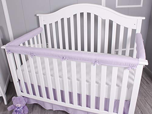 Belsden Baby Safe Crib Rail Cover 3 Pack Set for 1 Long and 2 Side Rails, Reversible Breathable Padded Crib Teething Guard and Protector, Measuring up to 8 inches Around, Lilac and White Color