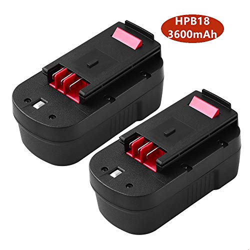 2 Pack HPB18 Battery 3.6Ah Ni-Mh Replacement for Black+Decker 18V Battery HPB18-OPE FSB18 Cordless Power Tools 244760-00 A1718 Firestorm