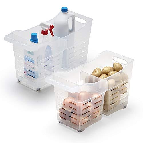 USE FAMILY Cestas Almacenaje Cocina plástico con Ruedas - 2 Compartimentos Transpirable| Organizador de despensa y armarios | Pack de 2 |Fabricado con Material Reciclable (Duo)