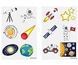 KINPARTY ® - 84 x Tatuajes Temporales Astronautas, Espacio, Universo… - Diseños Surtidos para Niñas/Niños. Tatuajes para regalos de cumpleaños, fiestas, celebraciones, relleno de piñatas