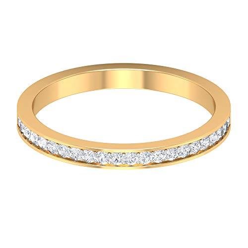Anillo de media eternidad, anillo de boda apilable, anillo de diamante redondo HI-SI, anillo de aniversario para ella, anillo de promesa, anillo diario, regalo para novia, 14K Oro amarillo, Size:EU 70