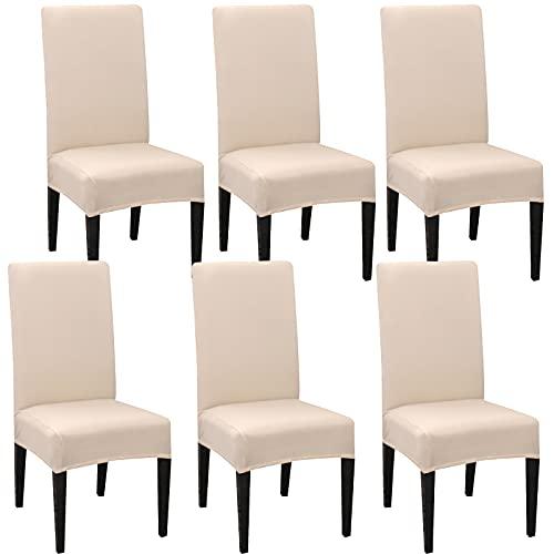 JMYDecor Fundas para sillas con respaldo, 6 unidades, elásticas, para sillas de comedor, funda extraíble, fundas para sillas con respaldo