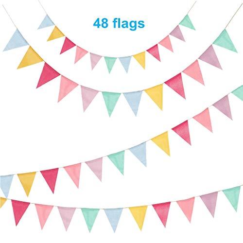 Feelairy 48 Drapeaux de Triangle en Toile de Jute Multicolore, 3 PCS Bannière Banderole Triangle, Guirlandes de Fanions avec 10M de Corde de Jute Vintage Decoration pour Cérémonie Mariage