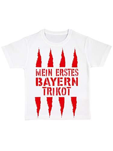 clothinx Kinder Bio T-Shirt Mein erstes Bayern Trikot Weiß Gr. 140