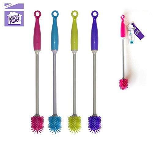 Je Cherche une Idée ME2192 reinigingsborstel, siliconen, krasbestendig, 3 x 3 x 30 cm, roze/blauw/paars/groen