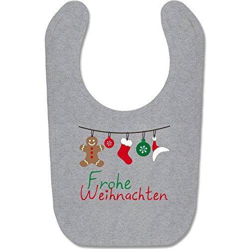 Shirtracer Weihnachten Baby - Frohe Weihnachten Girlande - Unisize - Grau meliert - weihnachts latzchen - BZ12 - Baby Lätzchen Baumwolle