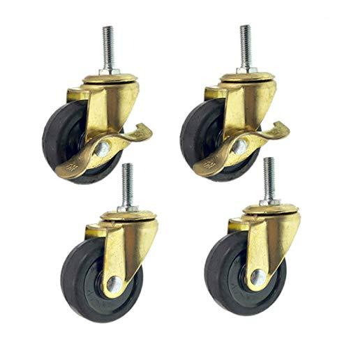 XHNXHN Ruedas giratorias de goma para muebles de 2 pulgadas, ruedas giratorias de repuesto, vástago roscado M8 x 25 mm, capacidad de carga 60 kg, paquete de 4