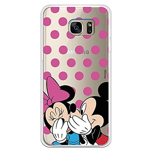 Funda para Samsung Galaxy S7 Edge Oficial de Clásicos Disney Mickey y Minnie Lunares Rosas para Proteger tu móvil. Carcasa para Samsung con Licencia Oficial de Disney.