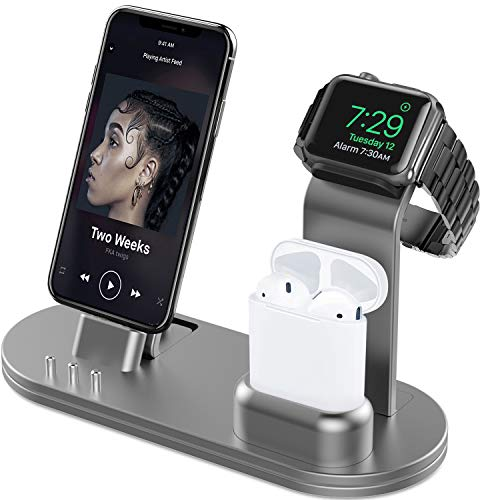 OLEBR Charging Stand 3 in 1 Compatible with AirPods, iWatch Series 6/SE/5/4/3/2/1,Phone 12/12 Pro/ 12 Pro Max/11/11 Pro/11 Pro Max/Xs/X Max/XR/X/8/8Plus/7/7 Plus /6S /6S Plus-Space Gray