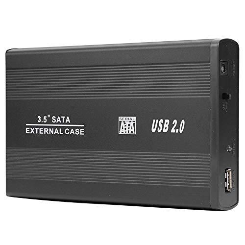 Domybest - Caja de Disco Duro SSD de 3,5 Pulgadas USB 2.0 a Puerto SATA para Disco Duro 480 Mbps con Cable de Datos y Adaptador de Corriente