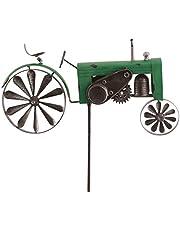 Metalen windmolen - tractor groen - weerbestendig, met antiek effect - windwielen: Ø18cm/10cm, motief: 50x28x6cm, totale hoogte: 140cm - incl. staander