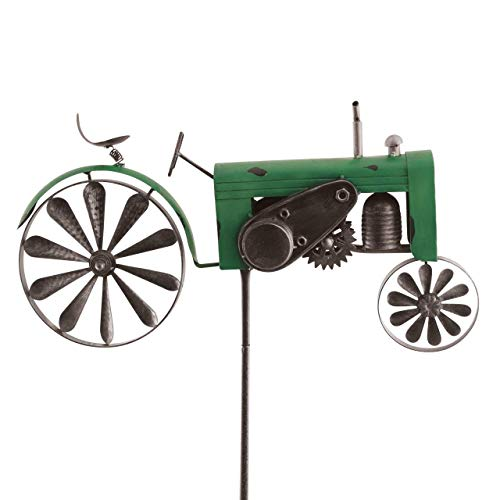 CIM Metall Gartenstecker mit Windrad - Vehicle - wetterfest - mit Antik-Effekt - Windräder: Ø18cm, Motiv: 51x32cm, Gesamthöhe: 160cm – attraktive Gartendekoration (Traktor Grün)