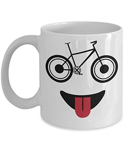 Cukudy Mountainbike Mok Grappig Fiets Gezicht met Bril Rider Fietsen Koffiebeker