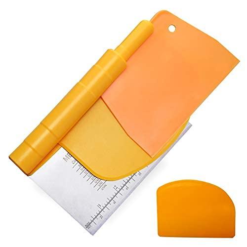 Raspador de banco de acero inoxidable 3 en 1 para hornear y juego de raspadores de masa de plástico flexible, banco multiusos