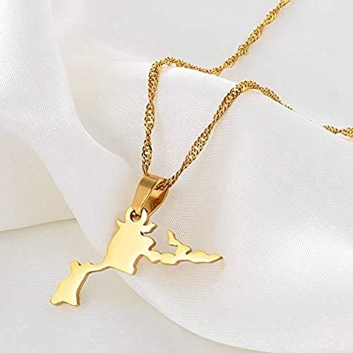 NC188 Collar de Mapa para Mujer Collares con Colgante de Islas Vírgenes Británicas de Acero Inoxidable Dorado con Cadena de Oro Regalo de joyería de Amistad para Mujeres Hombres-Longitud: _45cm