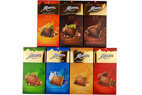 Munz Schokoladen Mix | 7 verschiedene Sorten á 100g | Edle Schokoladentafeln aus der Schweiz | Milchschokolade und Zartbitterschokolade | Swiss Premium Chocolate | Großpackung im 700g Set